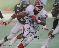 "Thurman Thomas Buffalo Bills Autographed 8"" x 10"" White Uniform Running Photograph"