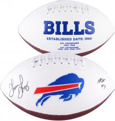 Thurman Thomas Buffalo Bills Autographed White Panel Football with HOF 2007 Inscription