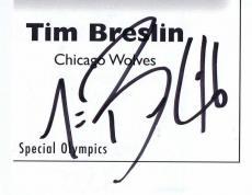 Tim Breslin Signed Vintage Program Page Chicago Wolves
