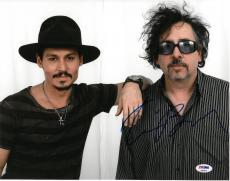 Tim Burton w/ Johnny Depp Signed Authentic Auto 11x14 Photo PSA/DNA #AB90972