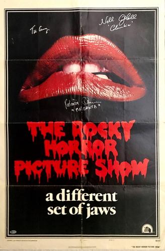 TIM CURRY Cast Signed 1975 Rocky Horror Picture Show Poster Beckett BAS COA