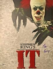 TIM CURRY Signed Pennywise Stephen King IT 11X14 Photo Beckett BAS COA