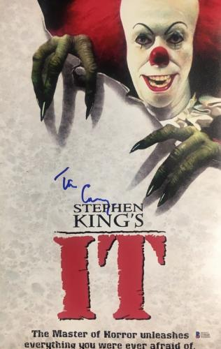 TIM CURRY Signed Pennywise Stephen King IT 11x17 Photo Beckett BAS COA Proof B
