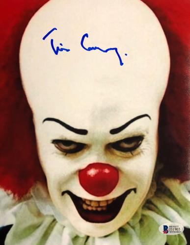 TIM CURRY Signed Pennywise Stephen King IT 8x10 Photo Beckett BAS COA AUTO O