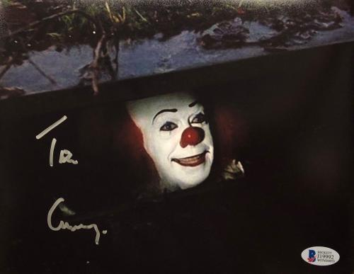 TIM CURRY Signed Pennywise Stephen King IT 8x10 Photo Beckett BAS COA Proof J
