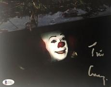 TIM CURRY Signed Pennywise Stephen King IT 8x10 Photo Beckett BAS COA Proof M