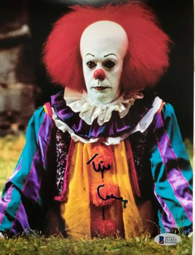 TIM CURRY Signed Pennywise Stephen King IT 8x10 Photo Beckett BAS COA Proof U