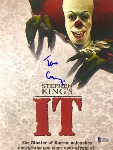 TIM CURRY Signed Pennywise Stephen King IT Poster 8x10 Photo Beckett BAS COA