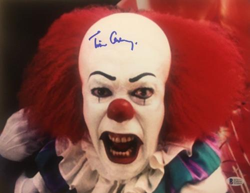 TIM CURRY Signed Pennywise Stephen King's IT 11x14 Photo BAS BECKETT COA AUTO