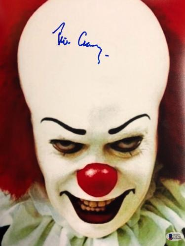 TIM CURRY Signed Pennywise Stephen King's IT 11x14 Photo Beckett BAS COA AUTO Z