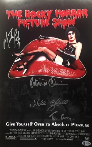 TIM CURRY Signed Rocky Horror Picture Show CAST (4) 11X17 Photo Auto BAS COA
