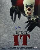 Tim Curry Signed Stephen King's It Chrome/Mettallic 16x20 Photo PSA