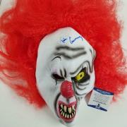 """TIM CURRY Stephen King's """"IT"""" Signed Pennywise Clown Mask Autograph ~ BAS COA"""
