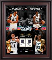 "Tim Duncan & David Robinson San Antonio Spurs Framed 20"" x 24"" Collage with Game-Used Jersey-Limited Edition of 100"