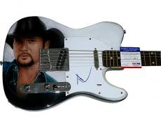 Tim McGraw Autographed Airbrushed Guitar UACC RD COA PSA
