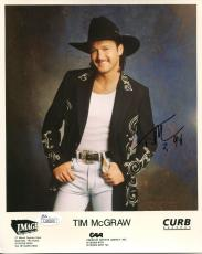 TIM MCGRAW HAND SIGNED 8x10 COLOR PHOTO        AWESOME+RARE POSE 1994    JSA