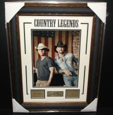 Tim Mcgraw Kenny Chesney Country Legends Laser Signature 11x14 Photo Framed
