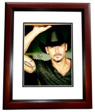 Tim McGraw Signed - Autographed Concert 11x14 inch Photo MAHOGANY CUSTOM FRAME - Guaranteed to pass PSA or JSA - Country Music Singer