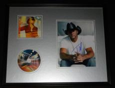 Tim McGraw Signed Framed 16x20 CD & Photo Display Two Lanes of Freedom