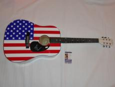 Tim Mcgraw Signed Full-size Usa Flag Acoustic Guitar Autographed Legend Jsa Coa