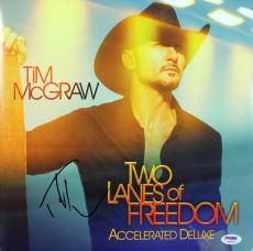 Tim McGraw Signed Two Lanes of Freedom Album Cover W/ Vinyl PSA/DNA #AC43037