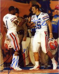 """Tim Tebow and Percy Harvin Florida Gators Autographed 8"""" x 10"""" Fist Pump Photograph"""