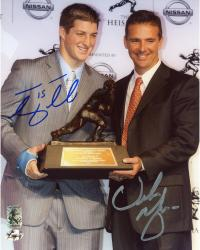 "Tim Tebow and Urban Meyer Florida Gators Autographed 8"" x 10"" Heisman Trophy Presentation Photograph"