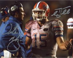 "Tim Tebow and Urban Meyer Florida Gators Autographed 8"" x 10"" Talking on Sidelines Photograph"