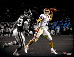 "Tim Tebow Florida Gators Autographed 11"" x 14""  Throw In BCS Game vs Oklahoma Spotlight Photograph"