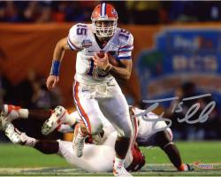 "Tim Tebow Florida Gators Autographed 8"" x 10"" Run In BCS Game vs Oklahoma Photograph"