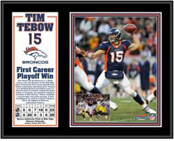 Denver Broncos Tim Tebow First Playoff Win Plaque - Mounted Memories