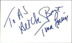 Tina Louise  Ginger Gilligans Island Signed Index Card 3 X 5 Blue Sig Id:18529