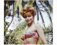 TINA LOUISE HAND SIGNED 8x10 COLOR PHOTO+COA     SEXY POSE AS GINGER     TO DAVE