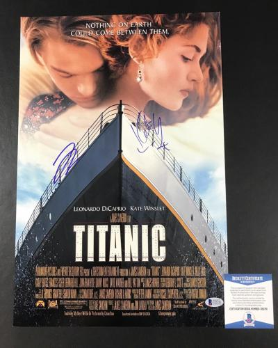 Titanic Kate Winslet Leonardo Dicaprio Signed 12x18 Authentic Autograph Bas Coa