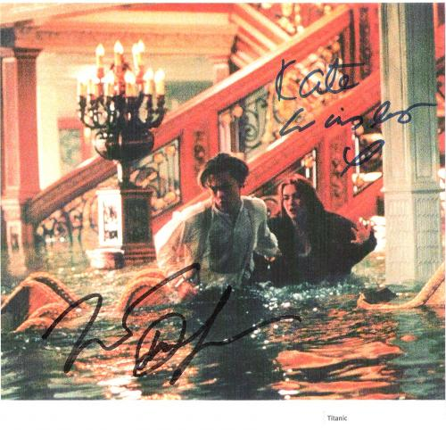"TITANTIC"" Signed by LEONARDO DICAPRIO as JACK and KATE WINSLET as ROSE 8.5x8 Paper Thin"