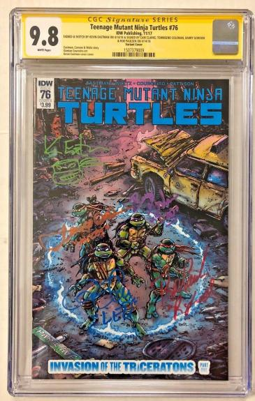 Tmnt #76 Cast Signed Comic Eastman Clarke Gordon Cgc Sig Series Autograph 9.8 O
