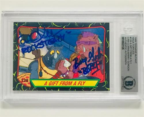 TMNT Ninja Turtles BARRY GORDON~CAM CLARKE signed BEBOP~ROCKSTEADY card ~BAS BGS
