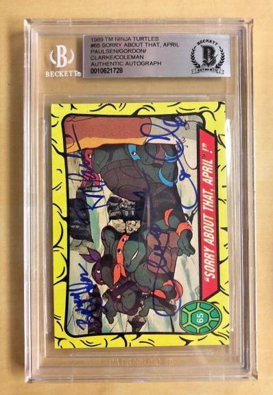 Tmnt Ninja Turtles Cast (4) Signed #65 Sorry About That April Slabbed Bgs Auto