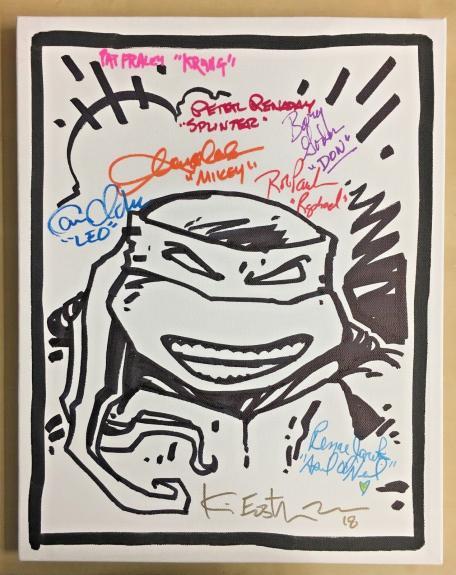 Tmnt Ninja Turtles Cast (8) Signed 11x14 Eastman Sketch Canvas Bas Coa Auto A