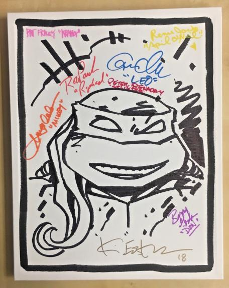 Tmnt Ninja Turtles Cast (8) Signed 11x14 Eastman Sketch Canvas Bas Coa Auto B