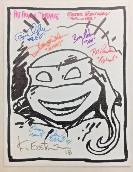 Tmnt Ninja Turtles Cast (8) Signed 11x14 Eastman Sketch Canvas Bas Coa Auto G