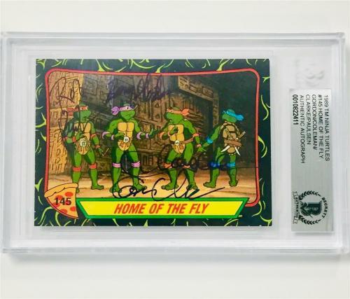 TMNT Teenage Mutant Ninja Turtles (all 4) cast signed Topps card ~ BAS BGS COA