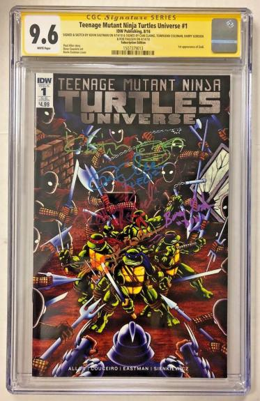 Tmnt Universe #1 Cast Signed Comic Eastman Clarke Cgc Sig Series Autograph 9.6 I