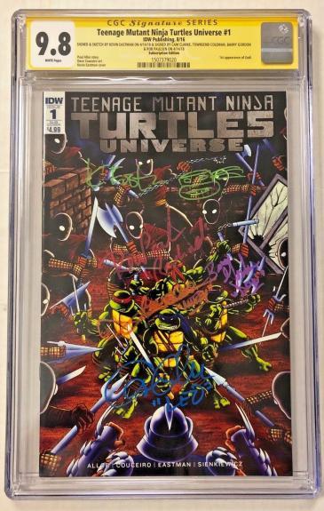 Tmnt Universe #1 Cast Signed Comic Eastman Clarke Cgc Sig Series Autograph 9.8 L