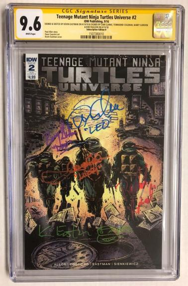 Tmnt Universe #2 Sub. Edition B Cast Signed Comic Eastman Fraley Cgc Series 9.6