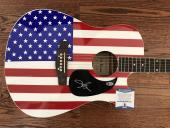 Toby Keith Signed Usa American Flag Acoustic Guitar Authentic Bas Coa #e61415