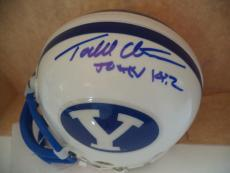 Todd Christenson Brigham Young Signed Autograph Riddell Mini Helmet Coa