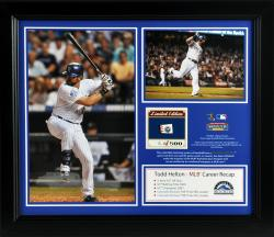 "Todd Helton Colorado Rockies Retirement Framed 15"" x 17"" 2-Photo Collage with Game-Used Ball - Limited Edition of 500"