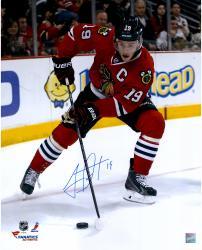 "Jonathan Toews Chicago Blackhawks Autographed 16"" x 20"" Vertical Red Uniform Photograph"