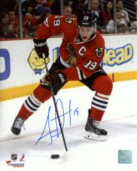 "Jonathan Toews Chicago Blackhawks Autographed 8"" x 10"" Vertical Red Uniform Photograph"